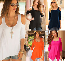 Women Ladies Cold Shoulder Cut Out Blouse Casual Loose Tops 3/4 Sleeve T Shirt