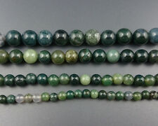 Natural Gemstone Moss Agate Beads Green Round Agate Stone Bead 6mm 8mm 10mm 15''