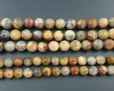 Natural Gemstone Crazy Agate Faceted Beads Round Yellow Beads 4mm 6mm 8mm 10mm