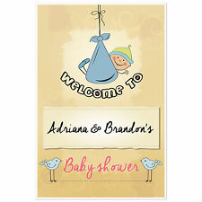 Baby Boy Hanging Welcome Sign for Baby Shower – Personalized Poster