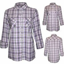 LADIES WOMENS SILVER CHECK SHIRT LUMBERJACK LONG SLEEVE BUTTON DOWN BLOUSE TOP