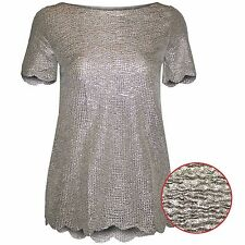 NEW LADIES CRINKLE TEXTURED GOLD METALLIC TOP WOMENS SHORT SLEEVE VEST T SHIRT