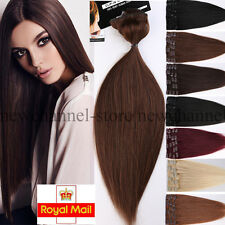 Luxury Clip in 100% Remy Human Hair Extensions Full Head 8 Pieces UK Stock C141