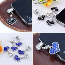 3.5mm Crystal Heart Anti Dust Earphone Plug Stopper Cap For iPhone Samsung New