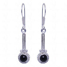 black onyx 925 sterling silver overlay earrings-GE1243