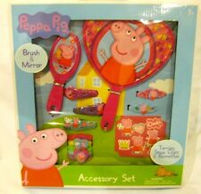 Peppa Pig 13 Piece Hair Accessory Kit barrettes, snap clips,mirror,hair brush