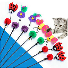 1Pcs Toy Cat Interactive Funny Wand Plastic Pet Kitten Feather Ball Plush Tease