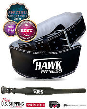 """4"""" Padded Cowhide Leather Weight Lifting Belt Fitness Workout Adjustable Buckle"""