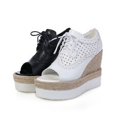 Women's Ladies Leather Wedge High Heel Lace Up Open Toe Fashion Sneakers Shoes