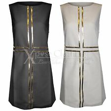 NEW LADIES GOLD CROSS FRONT SHIFT DRESS WOMENS TUNIC LOOK SLEEVELESS TOP 8 10 12