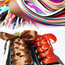 1.2m Silk Ribbon Wide Flat Sport Shoe Laces Strings Strap For Sneakers Unisex