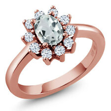 1.12 Ct Oval Sky Blue Aquamarine White Topaz 18K Rose Gold Plated Silver Ring