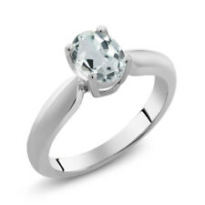 0.72 Ct Oval Sky Blue Aquamarine 925 Sterling Silver Ring