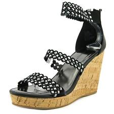Nine West Fancyoner 7 Women  Open Toe Canvas Black Wedge Sandal