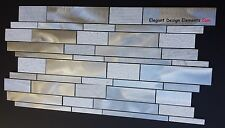Brushed Aluminum & Textured White Carrera. Mosaic Tile Kitchen Backsplash. (Z41)