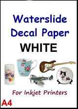 """CLEAR & WHITE A4 INKJET WATER SLIDE DECAL PAPER 1-20 Pcs 8.3"""" x 11.7"""""""
