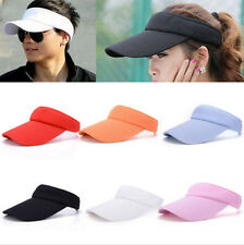 Women Men Plain Visor Outdoor Adjustable Sun Cap Sport Golf Tennis Beach Hat tre