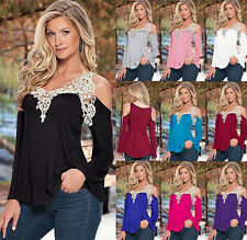 Womens Loose Casual Long Sleeve Lace Off Shoulder Shirt Blouse Ladies Tee Tops