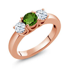 1.16 Ct Round Green Chrome Diopside White Topaz 14K Rose Gold Ring