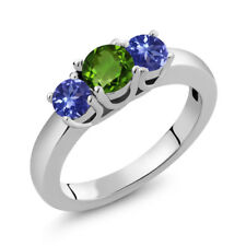 1.10 Ct Round Green Chrome Diopside Blue Tanzanite 925 Sterling Silver Ring