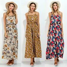 Women Spaghetti Strap Sleeveless Floral Long Maxi Dress Beach Summer Boho dress