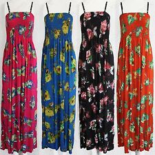 NEW WOMENS FLORAL PRINT MAXI DRESS STRAPPY BANDEAU LONG LADIES BOOBTUBE LONG TOP