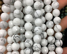 Natural Gemstone White Howlite Faceted Beads Round Spacer Beads 4,6,8,10,12mm