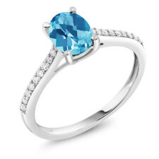 10K White Gold Diamond Accent Engagement Ring Oval Swiss Blue Topaz 1.40 ct