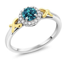 10K Two-Tone Gold 0.50 Ct Round London Blue Topaz XOX Ring with Accent Diamonds