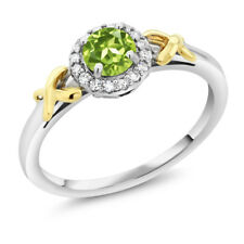 10K Two-Tone Gold 0.50 Ct Round Green Peridot XOX Ring with Accent Diamonds