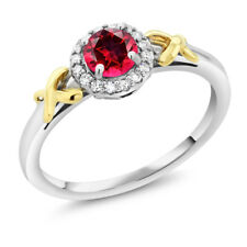 10K Two-Tone Gold Ring with Accent Diamonds Natural Red Topaz Cut by Swarovski