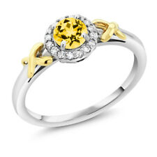 10K Two-Tone Gold Ring with Accent Diamonds Natural Honey Topaz Cut by Swarovski