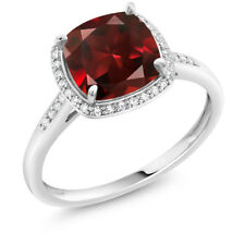 2.74 Ct Cushion Red Garnet 10K White Gold Ring with Accent Diamonds