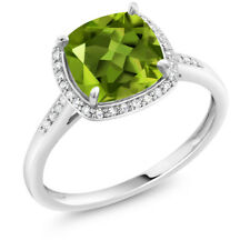2.45 Ct Cushion Green Peridot 10K White Gold Ring with Accent Diamonds