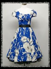 dress190 Blue With White Floral Cap Sleeved 50s Rockabilly Prom Dress