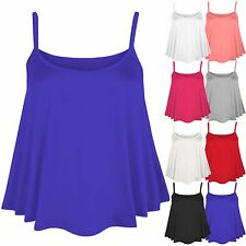LADIES PLUS SIZE PLAIN STRAPPY CAMI VEST WOMENS SLEEVELESS SWING FLARE TOP 16-22