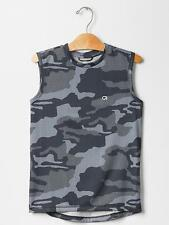 GAP Fit Kids Boys Size 6-7, 10 NEW Camo Tank Top GRAY Shirt Athletic Active