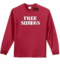 Free Shrugs Funny Long SLV T Shirt IDK Dont Care College Humor Party Gift Tee Z1