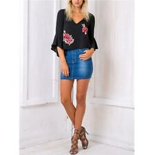 Short Summer Blouse Casual Fashion Blouse Ruffle V Neck Embroidery Chiffon New