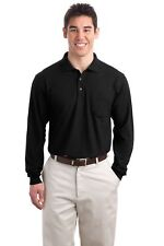 DISCONTINUED Port Authority  Tall Silk Touch Long Sleeve Polo with Pocket. TLK50