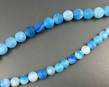 Natural Gemstone Blue Frosted Agate Beads Round Beads Supply 8mm 10mm 12mm 15''