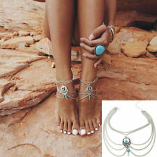 Gold silver Foot ankle chain anklet, beach destination wedding barefoot sandals
