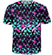 Summer Short sleeve Women/Mens Psychedelic geometry 3D Print Casual T-Shirt R61