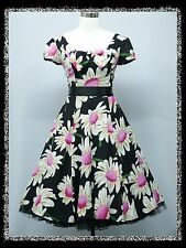 dress190 Black Floral 1950's Rockabilly Cocktail Swing Prom Ball Dress UK 8-26