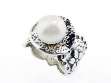 Fine Sterling Silver 925 Ring Cocktail White fresh water pearl