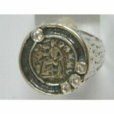 Fine Sterling Silver 925 Ring White CZ White Coin Ring