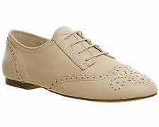 Womens Office Francine Lace Up Brogues NUDE LEATHER Flats