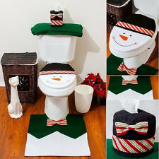 3pcs Christmas Decoration Santa Snowman Toilet Seat Cover & Rug Bathroom Mat Set