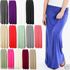 Ladies Women Pleated Fold Over Waist Jersey Maxi Long Length Viscose Gypsy Skirt