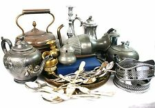 Antique Vintage Joblot Silver Plated Items Teapots Trays Cutlery Kettle 9.5 kg